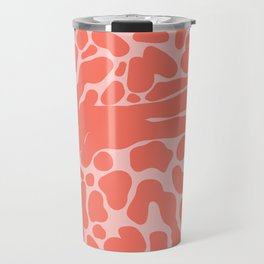 King Cheetah Print in Neon Coral + Blush Pink Travel Mug