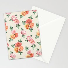Retro Peach and Pink Roses Stationery Cards