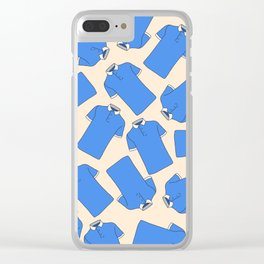 Shopping Blue Poloshirts Clear iPhone Case