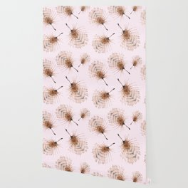 Delicate Brown Feather Seamless Pattern On Pink Wallpaper