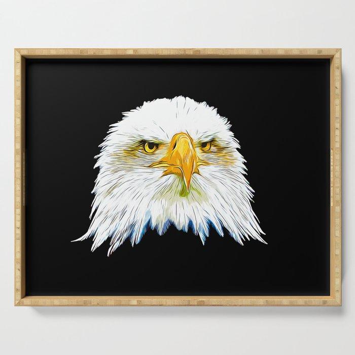 bald eagle vector art Serving Tray