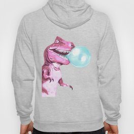 Bubble Gum Pink T-rex in Yellow Hoody