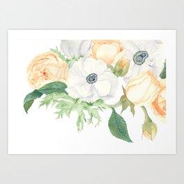 David Austin Roses and Anemones Art Print