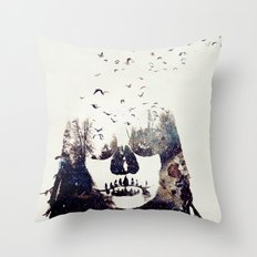 Tousled bird mad girl Throw Pillow