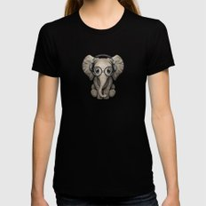 Cute Baby Elephant Dj Wearing Headphones and Glasses on Blue SMALL Black Womens Fitted Tee