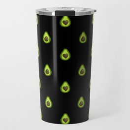 Avocado Hearts (black background) Travel Mug