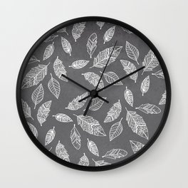 White hand drawn boho feathers hand drawn grey industrial concrete cement Wall Clock