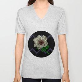 White Anemone Flower on Solid Black Zigzag Stripes Pattern Unisex V-Neck