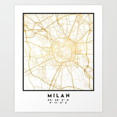 MILAN ITALY CITY STREET MAP ART Art Print