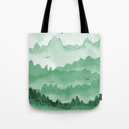 misty mountains - green palette Tote Bag