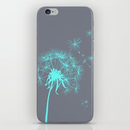 Gray and Teal Dandelion iPhone Skin
