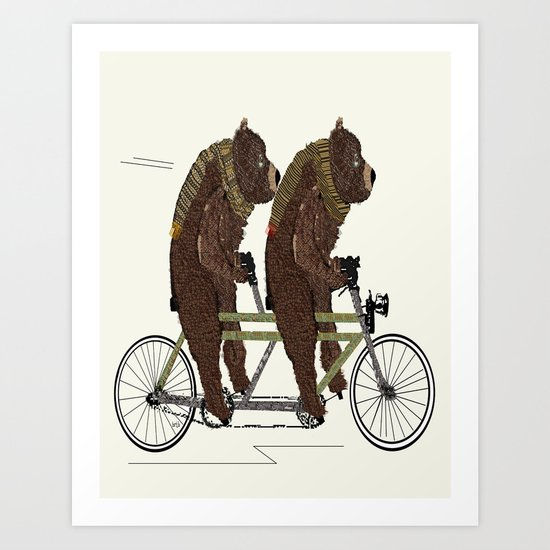grizzly bears lets tandem Art Print