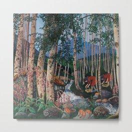 Floxgloves and White Birch amid the Stream landscape by Nikolai Astrup Metal Print