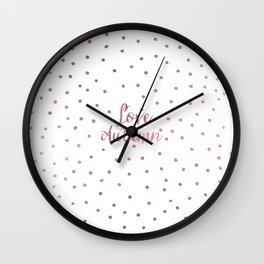 Modern white faux rose gold polka dots typography Wall Clock