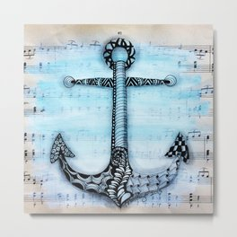 Zentangle anchor Metal Print