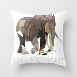 Bibliophant - enormous lover of books Throw Pillow