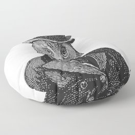Owl Portrait | 1 of 2 | The Owl and the Pussycat Set | Anthropomorphic Owl | Black and White | Floor Pillow