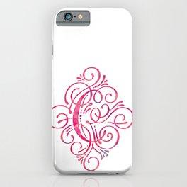 Pink Watercolor Letter C Monogram iPhone Case