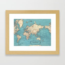 Pacific Projection World Map Framed Art Print