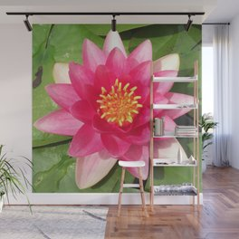 Lily Pad Flower Pink and Green Wall Mural