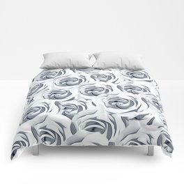 rose pattern texture abstract background in black and white Comforters