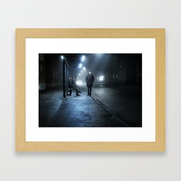 By the bus stand Framed Art Print