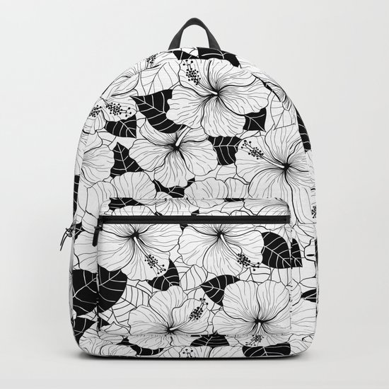 Hibiscus flowers and leaves tropical pattern Backpack