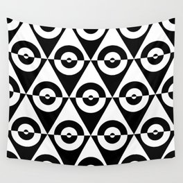 Black & White Checkered Triangle & Circles 60's Two Tone Ska Pattern Wall Tapestry