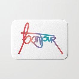 Original Handwritten 'Bonjour' Design Bath Mat