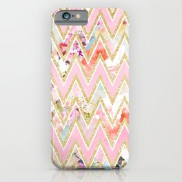 Pastel watercolor floral pink gold chevron pattern iPhone Case