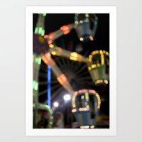 Seaside Boardwalk Lights Art Print