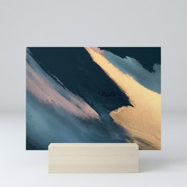 Ignite: colorful abstract in blue pink and gold Mini Art Print
