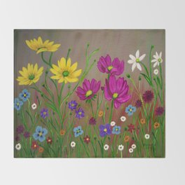 Spring Wild flowers  Throw Blanket