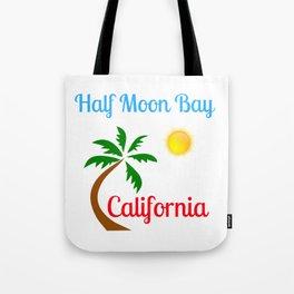 Half Moon Bay California Palm Tree and Sun Tote Bag