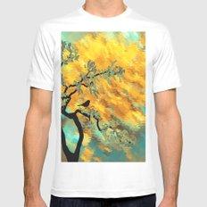 Artistic orange green brushstrokes tree black little bird MEDIUM Mens Fitted Tee White