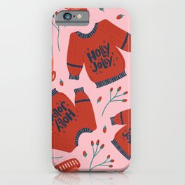 Holly Jolly Sweater Pattern iPhone Case