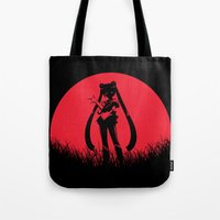 sailormoon Tote Bags featuring Red Moon SailorMoon by Timeless-Id