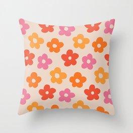 Retro 60s 70s Flowers Pattern #pattern #vintage Throw Pillow
