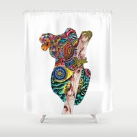tatoo Shower Curtains featuring Kaola by Annie Liu