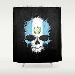 Flag of Guatemala on a Chaotic Splatter Skull Shower Curtain