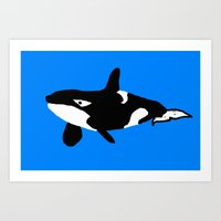 orca Art Prints featuring Orca by Whimsy Notions Designs