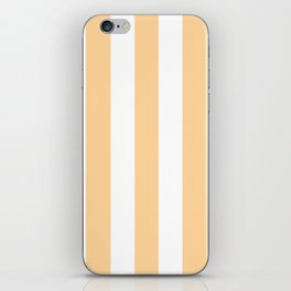 Caramel pink - solid color - white vertical lines pattern iPhone Skin