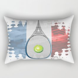 Racquet Eiffel Tower with French flag colors in background Rectangular Pillow