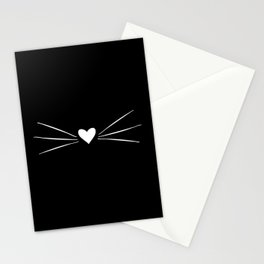 Cat Heart Nose & Whiskers White on Black Stationery Cards