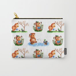 Cute watercolor pattern for kids about Teddy Bear and little Duck's friendship Carry-All Pouch