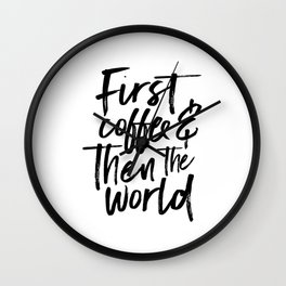 BUT FIRST COFFEE, Kitchen Wall Art,Coffee Sign,Inspirational Quote,Coffee Kitchen Decor,Morning Quot Wall Clock