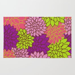 Dahlia Flowers, Blossoms - Pink Purple Green Rug