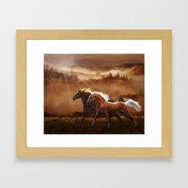 A Race at Sunset Framed Art Print
