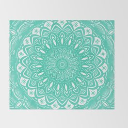 Minimal Aqua Seafoam Mint Green Mandala Simple Minimalistic Throw Blanket
