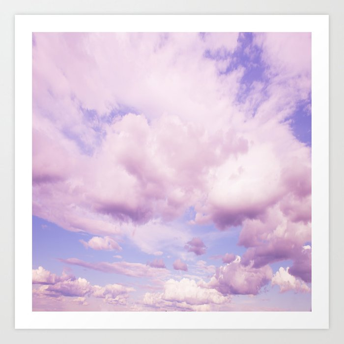 Pink Clouds In The Blue Sky Decor Society6 Art Print